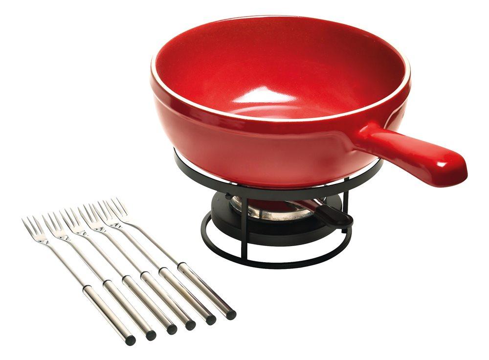 service fondue complet rouge grand cru emile henry tom press. Black Bedroom Furniture Sets. Home Design Ideas