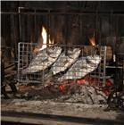 Broche gril cuisson horizontale pour poisson côtelettes saucisse steak