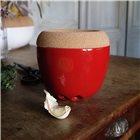 Pot à ail et échalotte céramique rouge Grand Cru Emile Henry couvercle liège