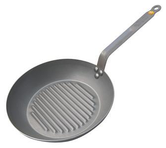 Poêle gril ronde 26 cm tôle acier avec revêtement cire d´abeille