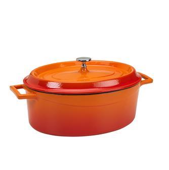 Cocotte en fonte ovale 29x22 orange