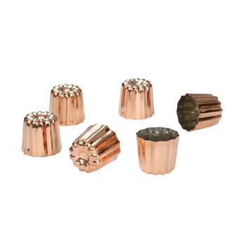 6 moules à cannelés en cuivre étamé