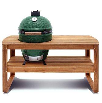 Table en acacia sur roulettes avec support et housse pour Big Green Egg Large