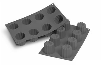 Moule 8 cannelés bordelais silicone noir avec particules de métal