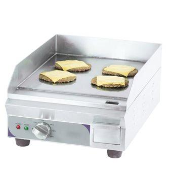 Plaque à snacker lisse en acier  35 cm électrique 2200 W bâti inox