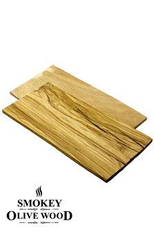 Planchettes en bois d´olivier 22 cm pour griller au barbecue x2