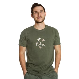 Tee shirt homme Bartavel Nature kaki sérigraphie 6 bécasses en vol 3XL