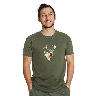 Tee shirt homme Bartavel Nature kaki sérigraphie avant de cerf M