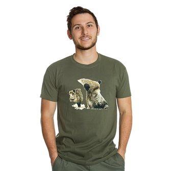 Tee shirt homme Bartavel Nature kaki sérigraphie 2 avants de sanglier L