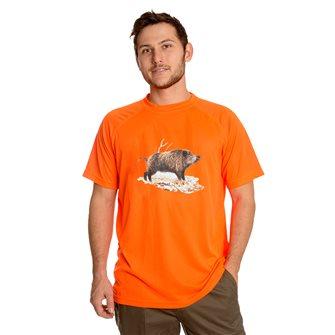 Tee shirt homme respirant Bartavel Diego orange M sérigraphie sanglier