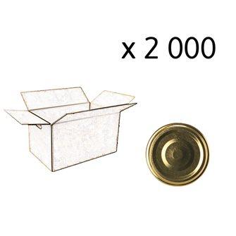 Capsules twist-off dorées de 53 mm de diamètre par carton de 2 000