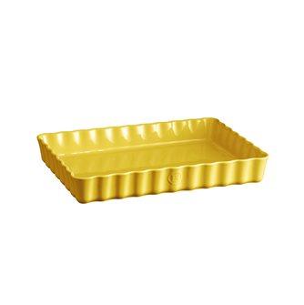 Plat à tarte rectangulaire Emile Henry en céramique jaune Provence