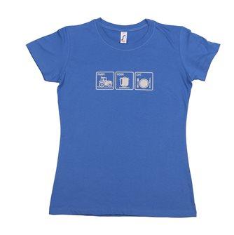 T-shirt femme XL Farm Cook Eat Tom Press bleu sérigraphie grise
