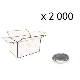 Capsules twist off couleur argent de 53 mm de diamètre par carton de 2 000
