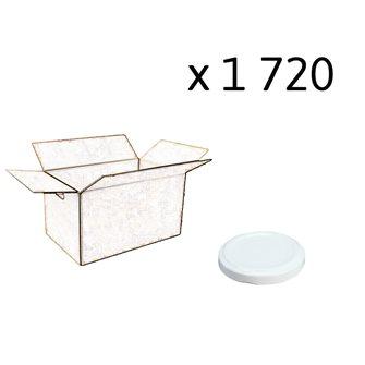 Capsules twist off blanches de 58 mm de diamètre par carton de 1720