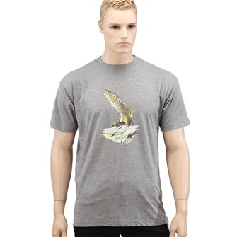 Tee shirt homme Bartavel Nature gris sérigraphie truite au bout de la ligne XL
