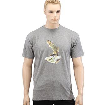 Tee shirt homme Bartavel Nature gris sérigraphie truite au bout de la ligne XXL