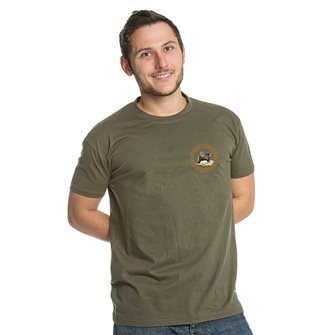 Tee shirt kaki M chasse patch sanglier de Bartavel Nature