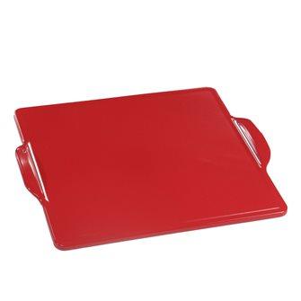 Plaque à four et barbecue en céramique carrée 35 cm rouge Grand Cru Emile Henry EXCLU