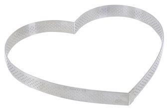 Cercle forme cœur inox 22 cm perforé  bord droit six parts
