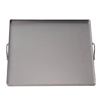 Plaque en acier carrée 40x40 cm avec poignées tous feux, four et barbecue