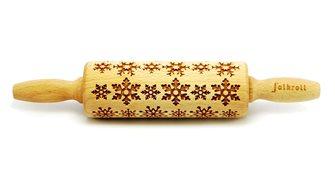 Rouleau décor pâtisserie en bois motif flocon